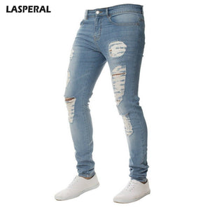 7cc7c041a0445 LASPERAL Men s Skinny Casual Jeans Male Solid Color Frayed Denim Pencil Jean  Feet Jeans Knee Hole For Male