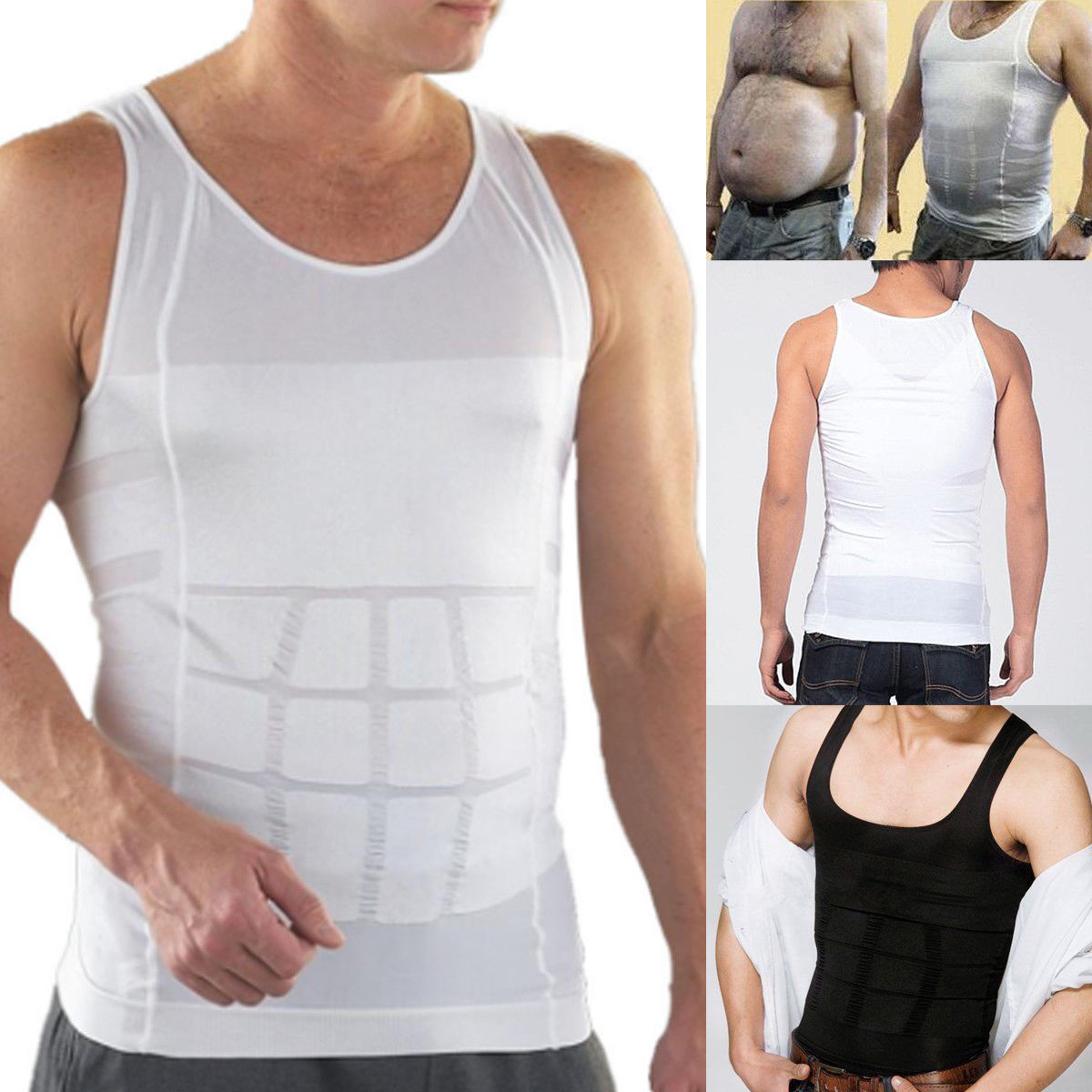 51d2a0ce1c9c9 Men Shapers Summer Solid Sleeveless Firm Tummy Belly Buster Vest ...
