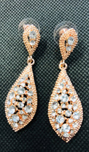 Load image into Gallery viewer, Bobby - Teardrop Diamante Earrings Rose Gold Bling