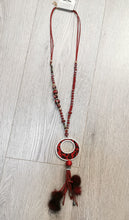 Load image into Gallery viewer, Jade - Animal Print Bling Tassel Necklace Wine Red Burgundy