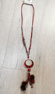 Jade - Animal Print Bling Tassel Necklace Wine Red Burgundy