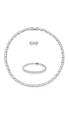 Classic Tennis Set Sworovski Inspired Diamante Bling Necklace Bracelet Earrings Extension Clasp Silver