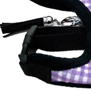 Chequered Purple Faux Fur Harness with Lead