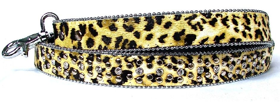 Leopard Print Leather Dog Lead