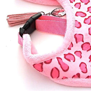 Pink Leopard Faux Fur Dog Harness  plus Lead