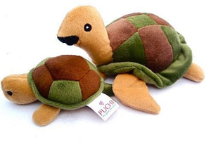 Teeny Turtle and Mummy Dog Cuddly Toy Set with Squeak