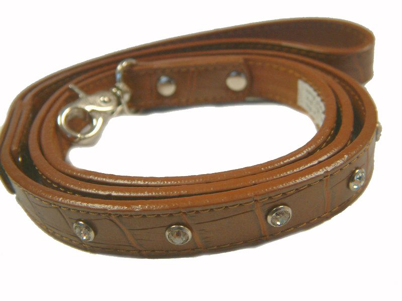 Chocolate Brown Croc Leather Dog Lead