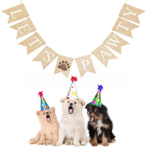 'Lets Pawty' Dog's Birthday Banner