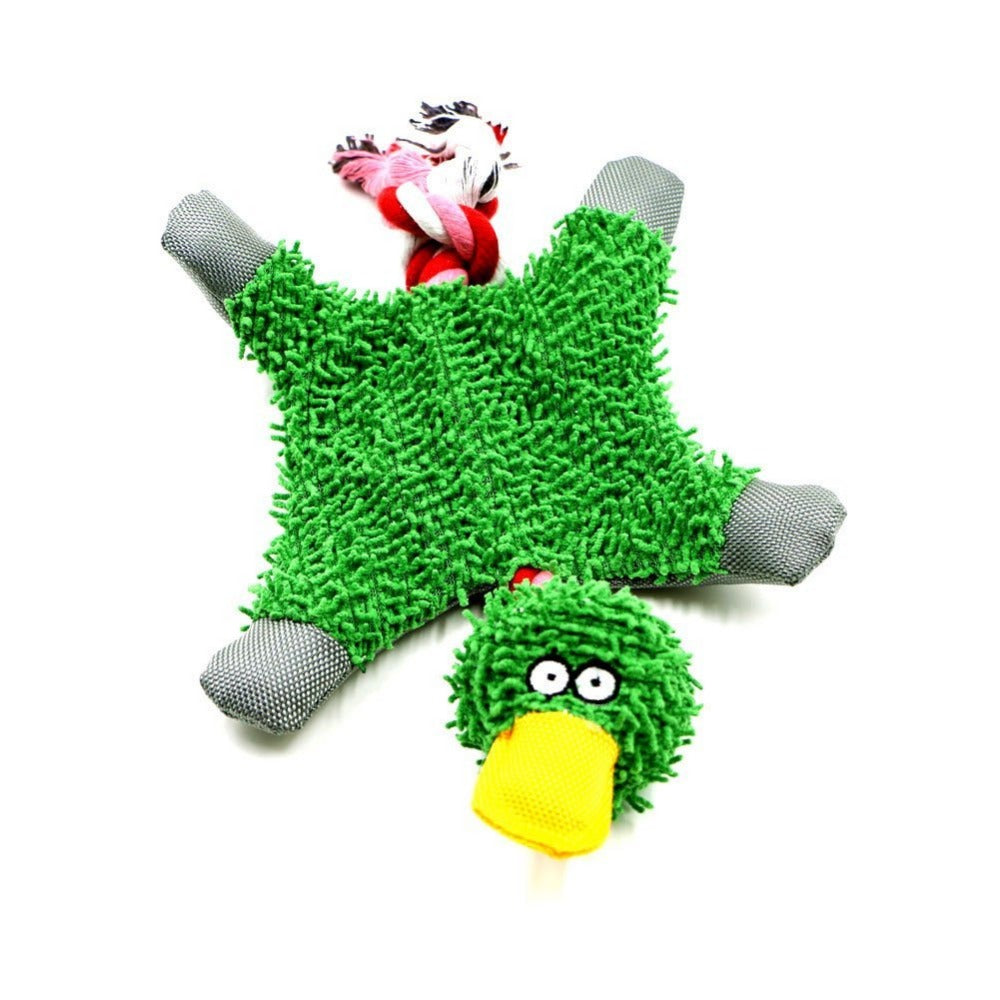 Noisy Duck Plush Dog Toy with Rope
