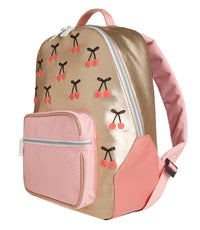Jeune Premier - Cherry Pompon - Fashionable golden school backpack with cherries for girls in primary school.