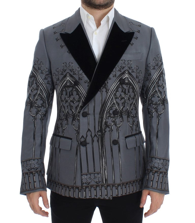 Gray Silk Knight Two Button Blazer
