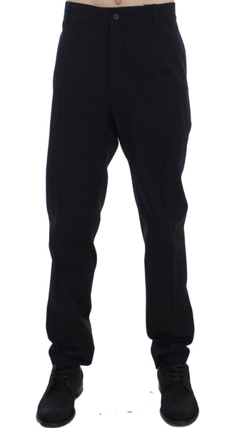 Black Wool Cotton Stretch Casual Pants