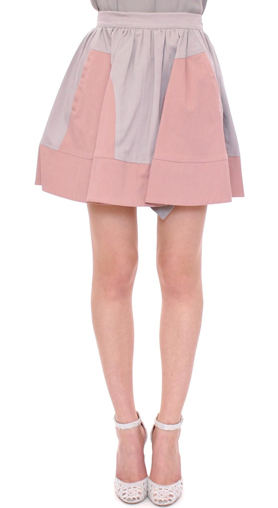 Pink Gray Mini Short Pleated Skirt