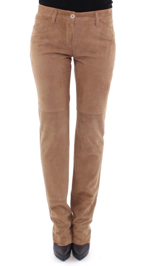 Brown Goatskin Suede Slim Fit Pants