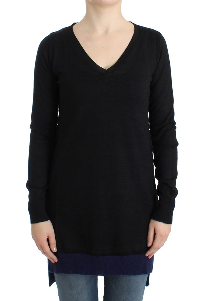 Black V-neck lightweight sweater