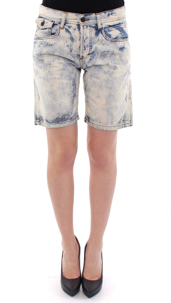 Blue cotton washed jeans shorts