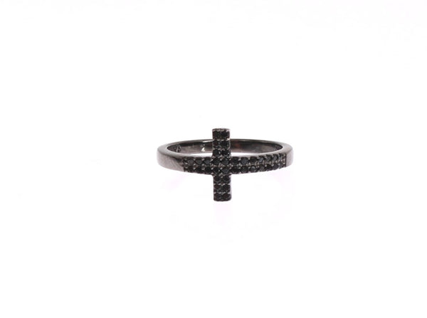 Black CZ Cross Rhodium 925 Ring