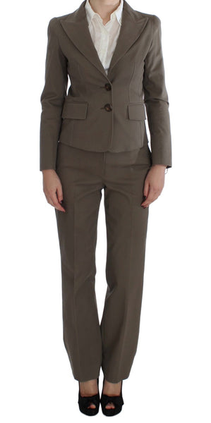 Beige Wool Cotton Suit