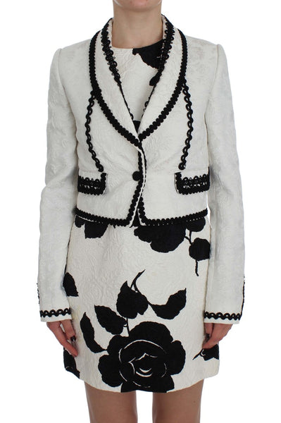 White Black Brocade Torero Blazer Jacket