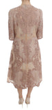 Pink Silk Lace Ricamo Shift Gown Dress