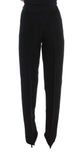 Black Striped Cotton Blend Wide Legs Pants