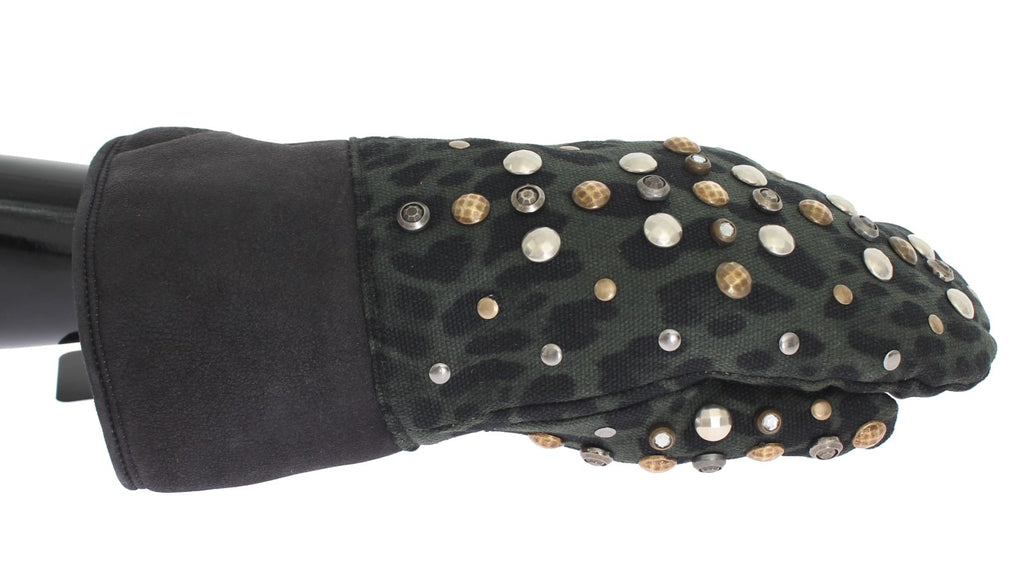 Gray Wool Shearling Studded Green Leopard Gloves