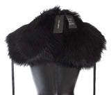 Black Fox Fur Shoulder Wrap Cover Collar Scarf