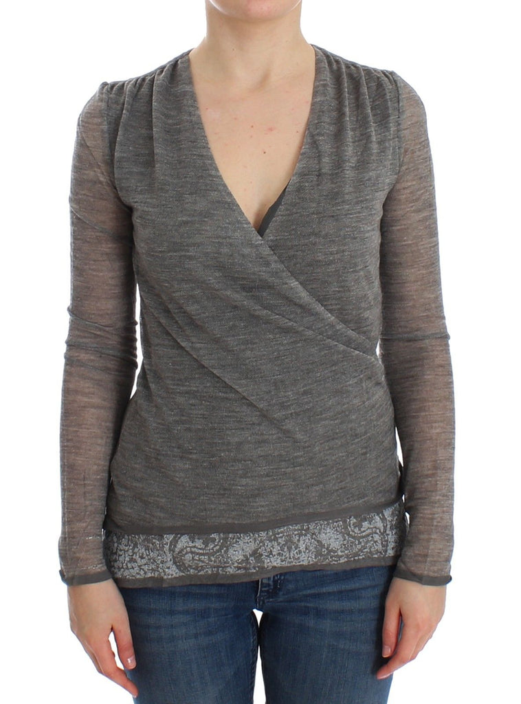 Gray Wool Blend Stretch Long Sleeve Sweater