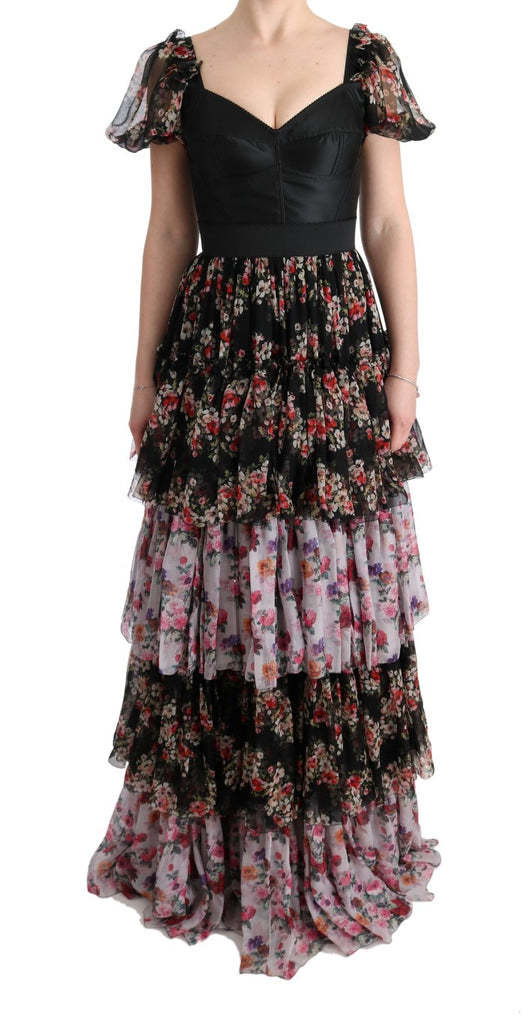 Multicolor Silk Stretch Floral Shift Long Dress
