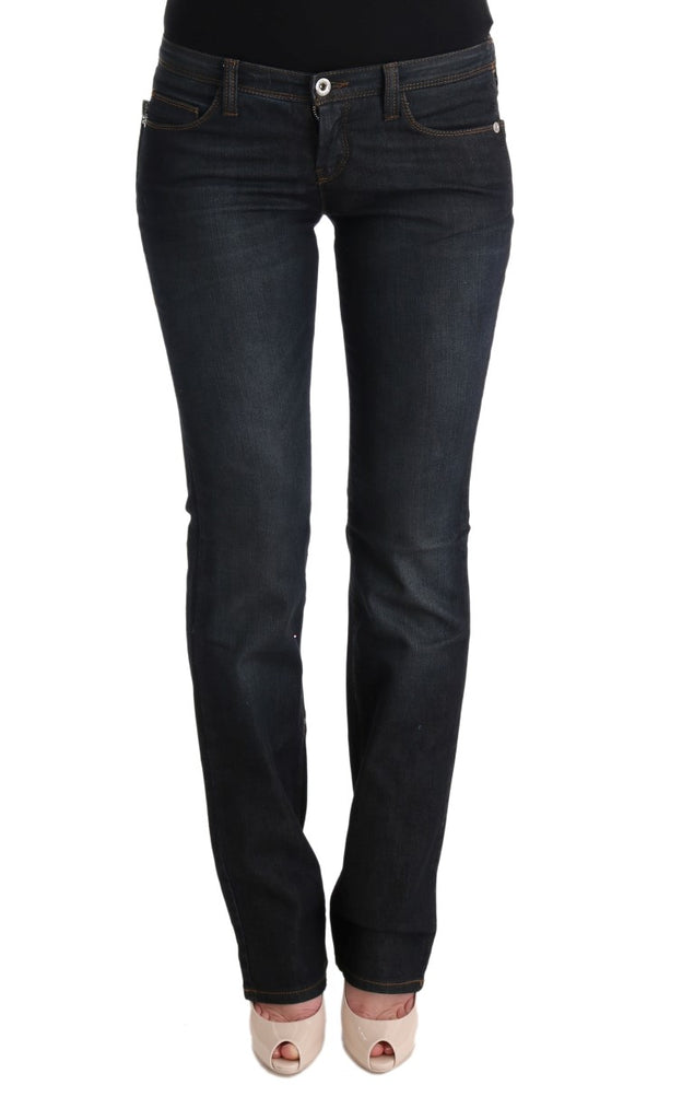 Gray Cotton Slim Flared Jeans