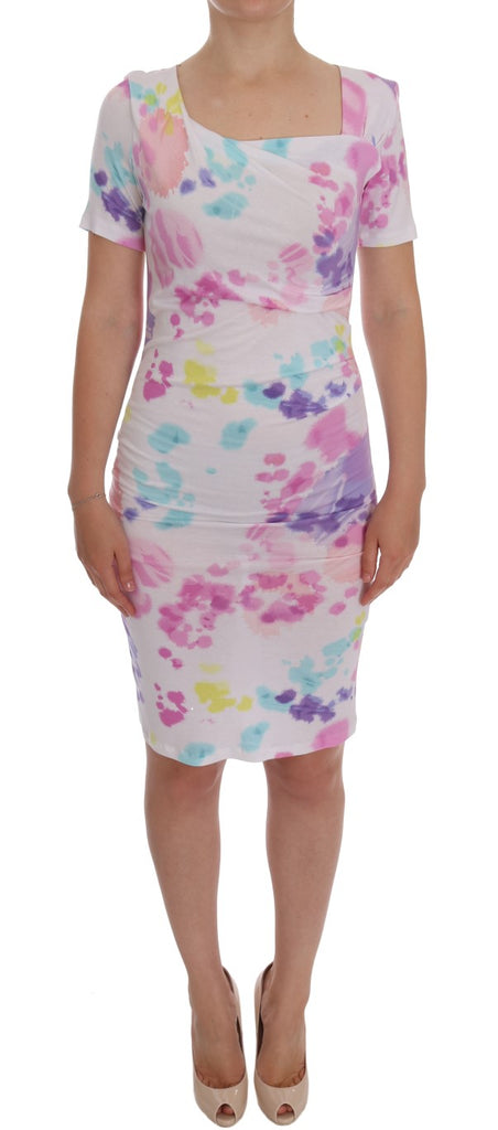 White Printed Pencil Sheath Dress