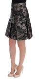 Black Silver Brocade Floral Skirt