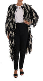 Black White Fringes Coat Wool Coat
