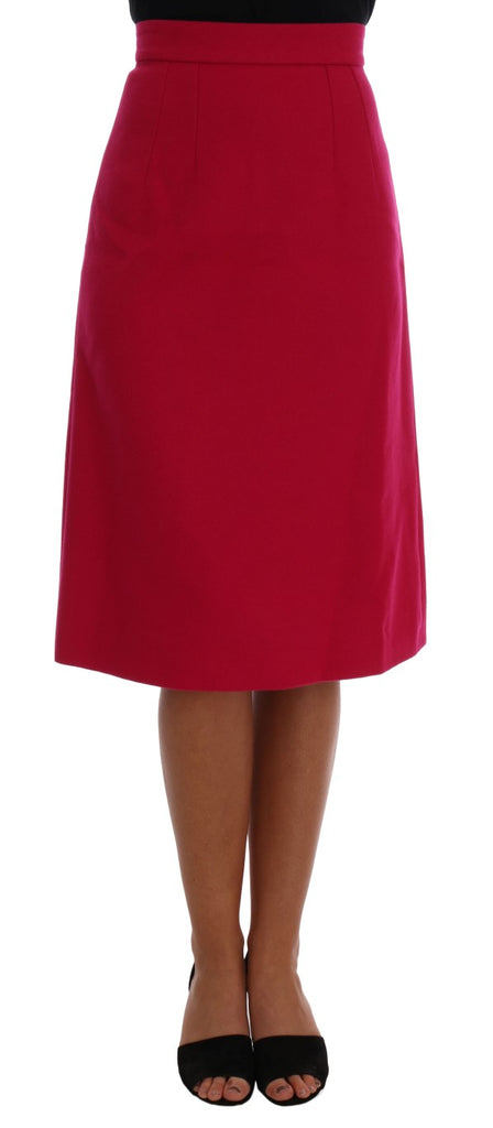 Pink Wool Knee Long A-Line Skirt