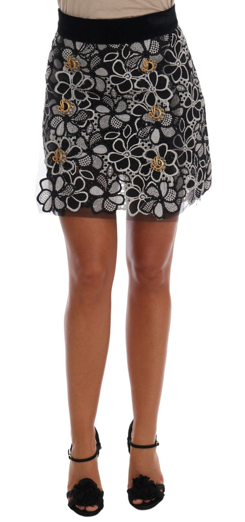 Floral Macramé Lace Crystal Button Skirt