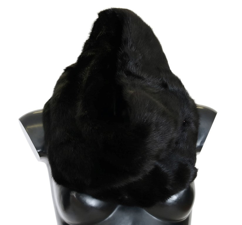 Black Mink Fur Collar Scarf