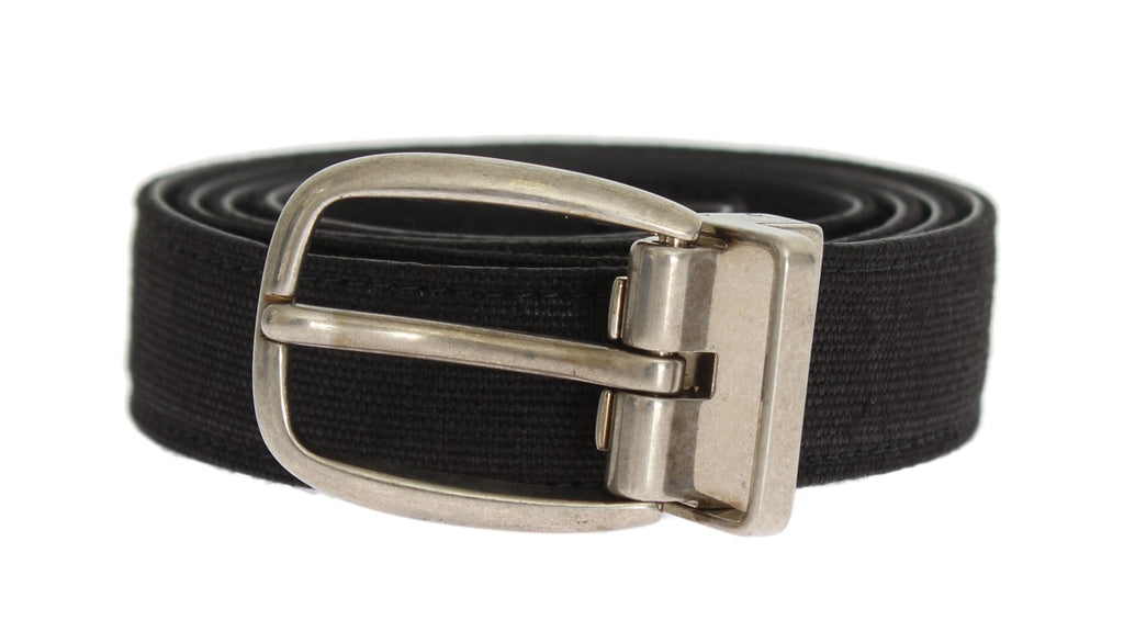 Black Linen Leather Belt