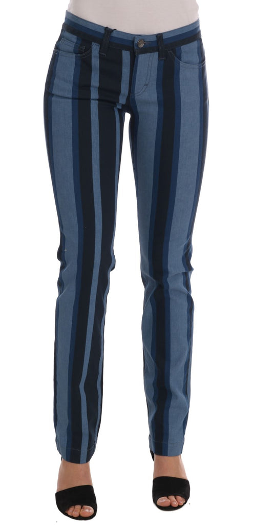 Blue GIRLY Striped Cotton Jeans