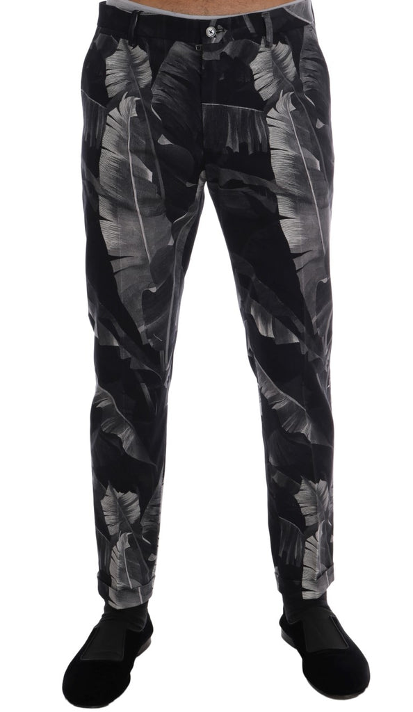 Black Banana Leaf Cotton Stretch Slim Pants