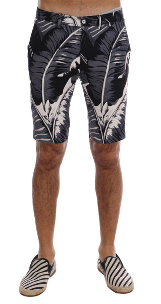 Gray Banana Leaf Print Cotton Shorts