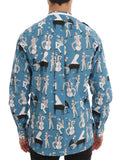 Blue Jazz Print Cotton Casual Shirt