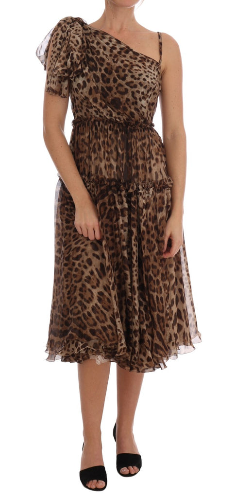 Brown Leopard Silk One Shoulder Dress