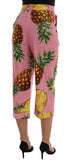 Multicolor Pineapple Print Cotton Capri Pants