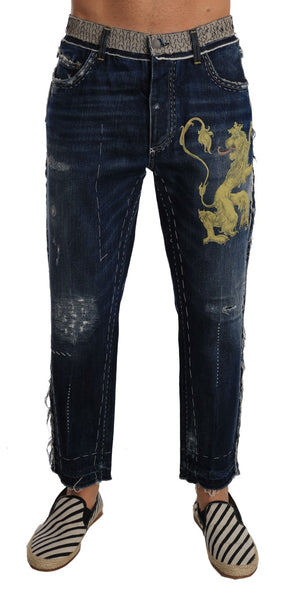 Blue Denim LOOSE Lion Print Jeans