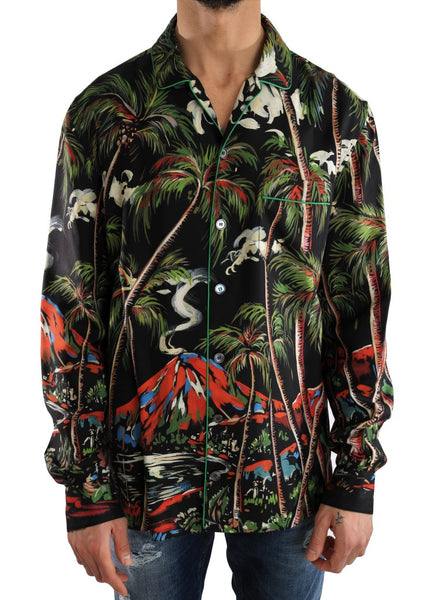 Multicolor Silk Jungle Print Shirt