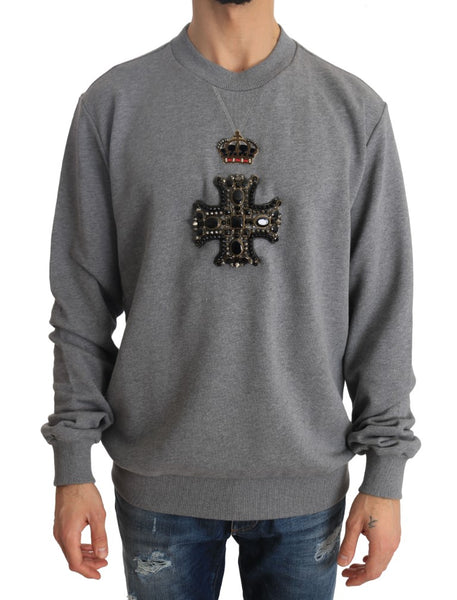 Gray Cotton Crystal Royal Crown Cross Sweater