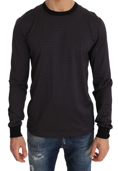 Crewneck Cotton Purple Polka  Sweater