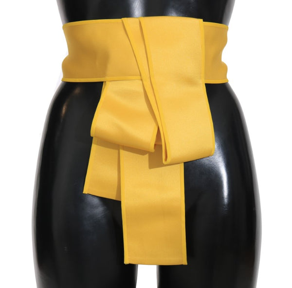 Yellow Silk Wide Waist Ribbon Belt
