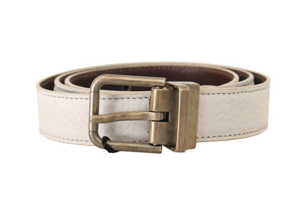White Patterned Leather Gold Buckle Belt