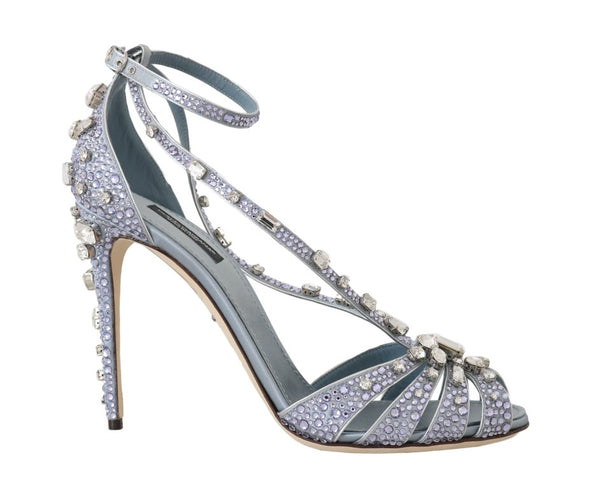Blue Silk Crystal Strass Sandals